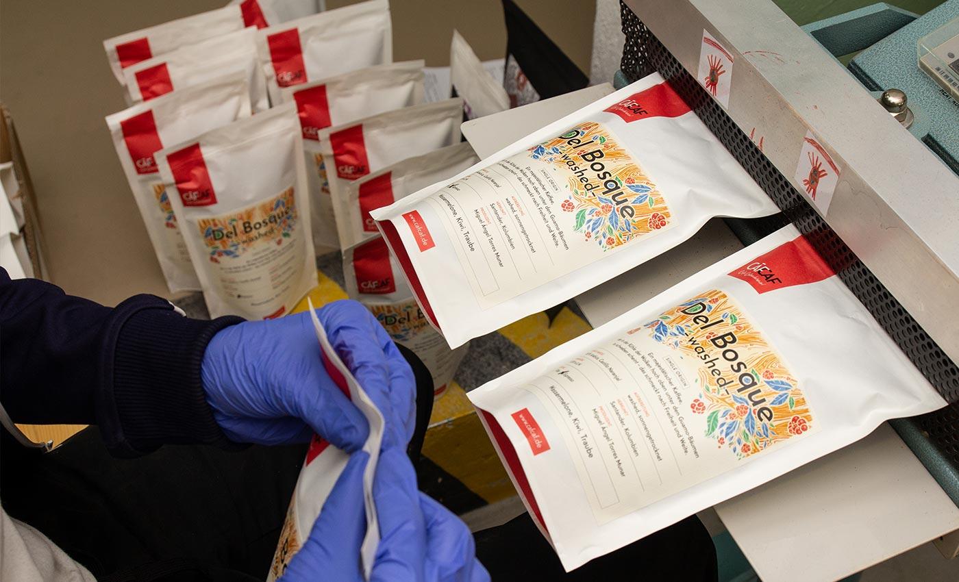 Unsere Kaffeepackungen kurz vor dem Versand