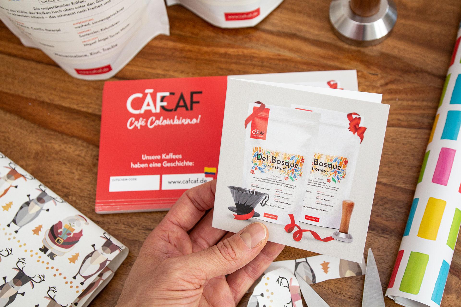 Der CafCaf Kaffeegutschein als Geschenk